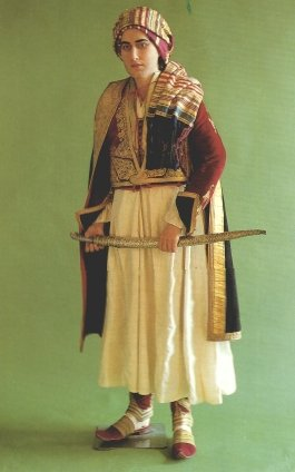 Model wearing Byron's Albanian dress