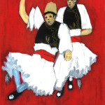 Albanian Dancers, Watercolor.