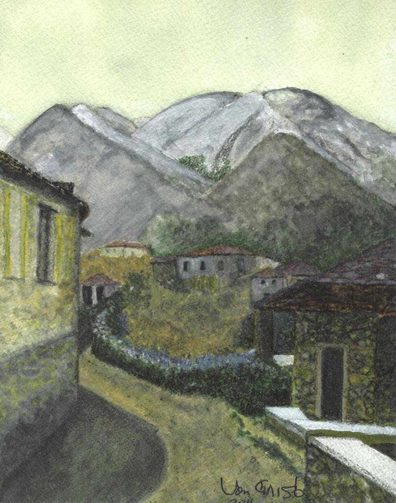Albanian Mountain Village, Watercolor