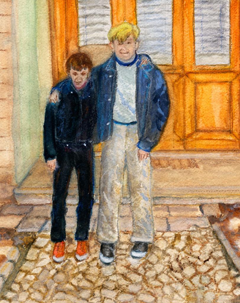 Two Boys in Drenova, Watercolor