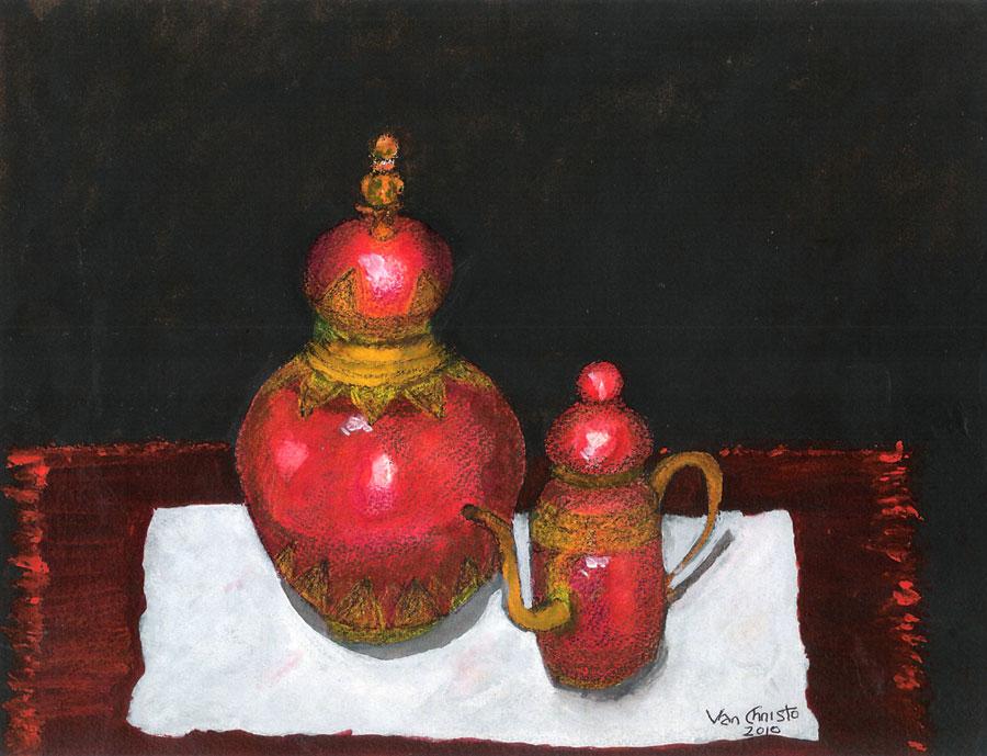 Kafeja Pots, Watercolor.