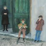 Korçe Street Scene, Watercolor