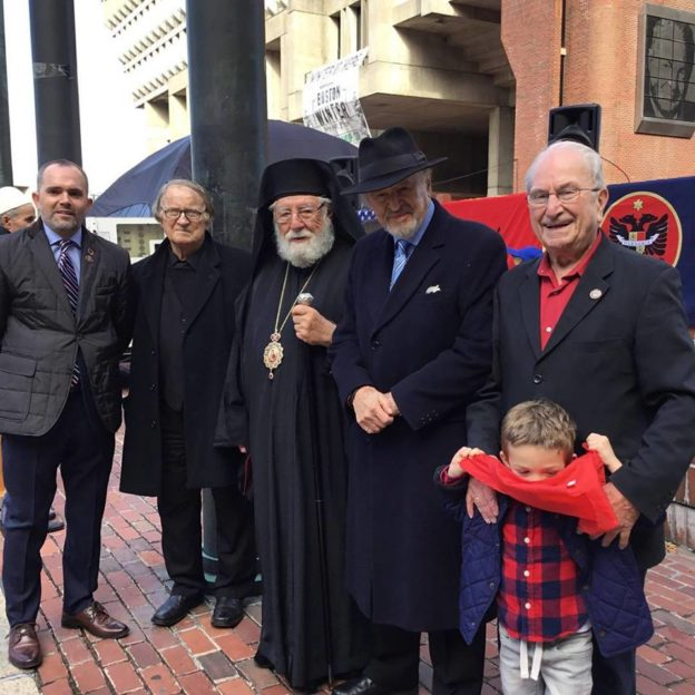 Celebration of The 105th Anniversary of Albanian Independence Day at City Hall Plaza. With Event organizer Petrit Alibej, Bishop Ilia and Ron Nasson